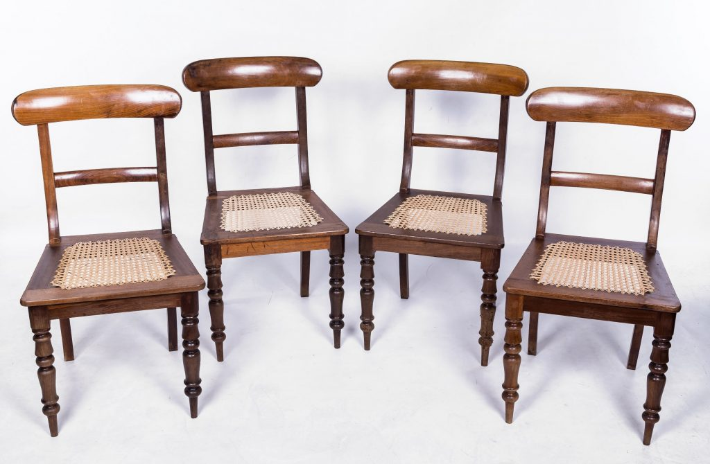 Set of four cane seated chairs