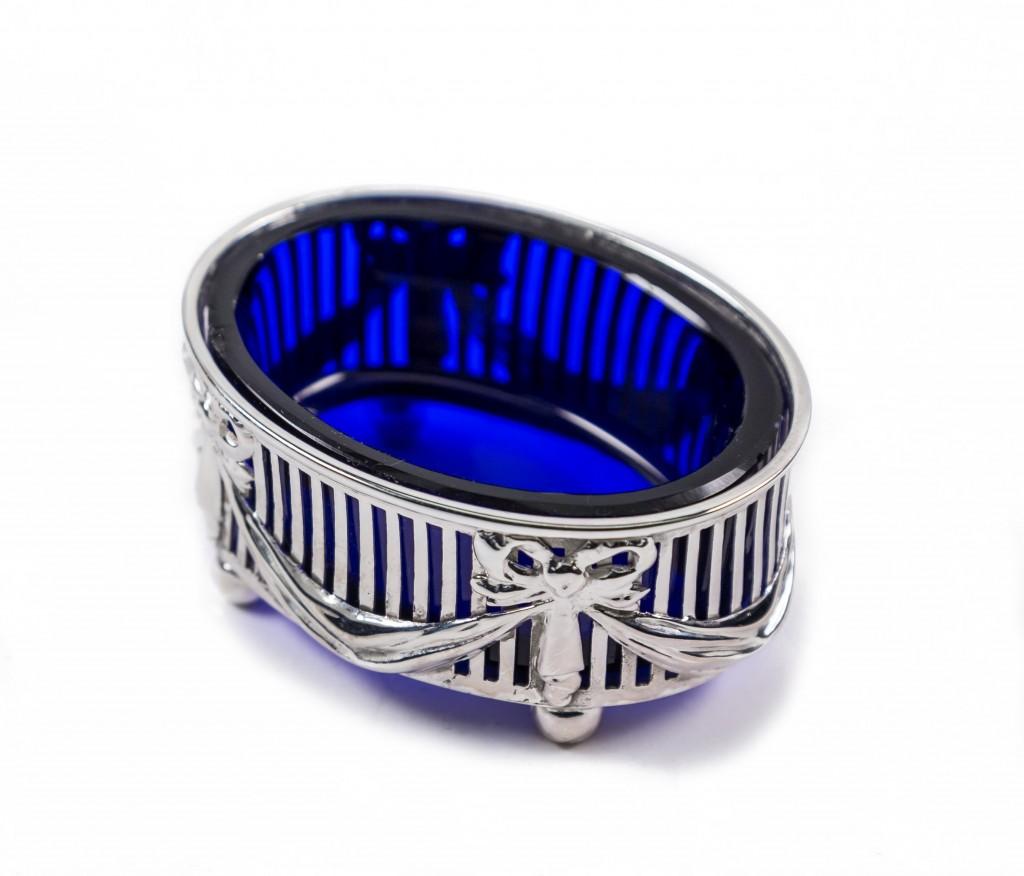 Blue glass in silver case