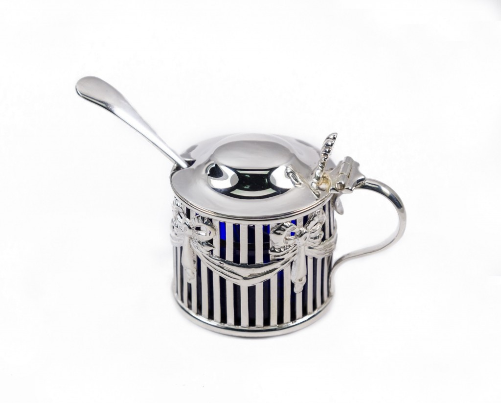 Silver mustard pot with spoon