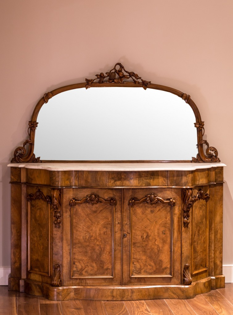 Mirror backed walnut veneered credenza with marble top