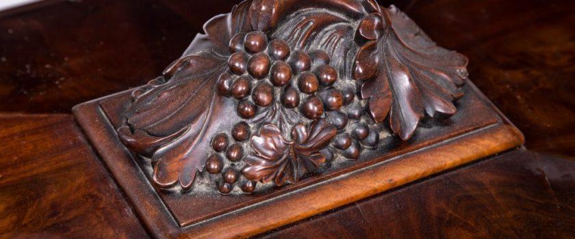 Carved detail on wine cooler