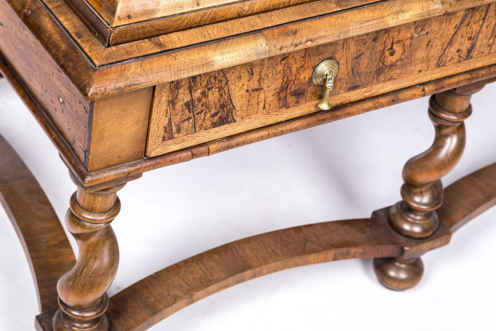"English walnut chest on stand ""close detail of stand"""