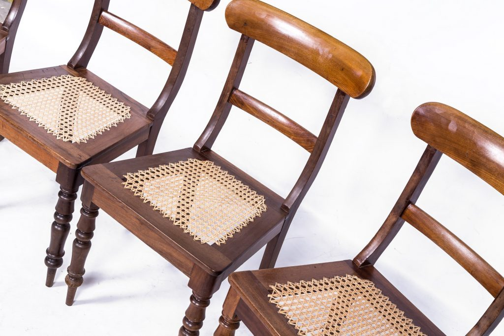 Set of cane seated chairs