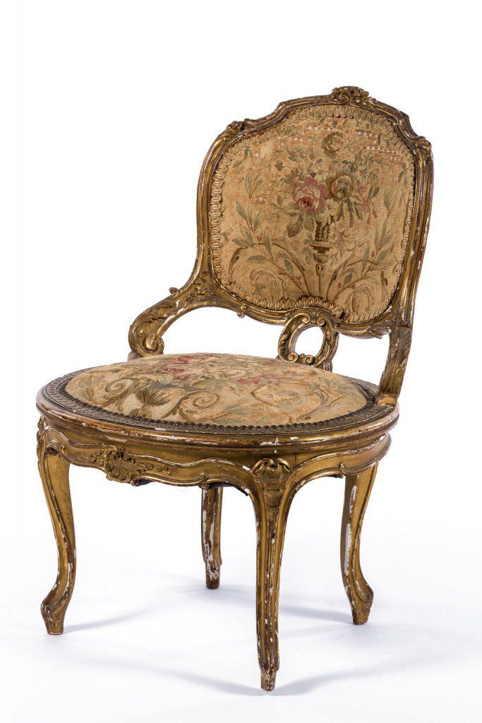 Fine gilt chair with tapestry