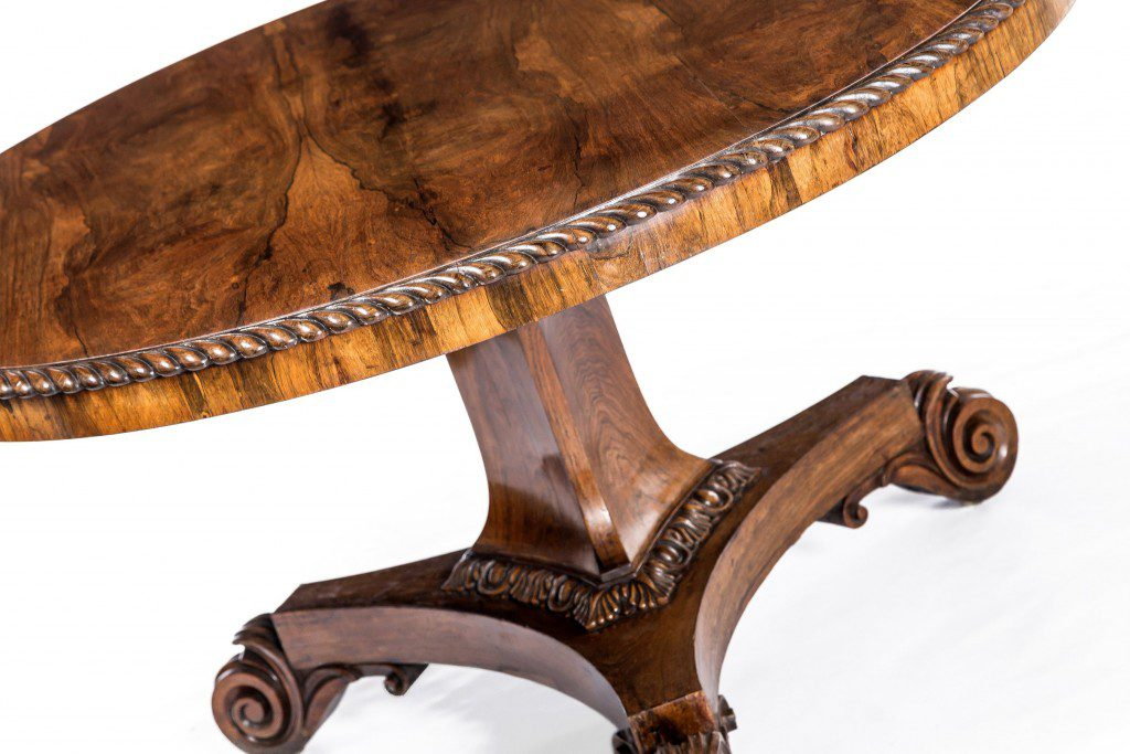 Fine detail of rosewood moulding on regency centre table