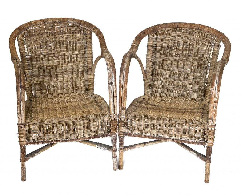 Vintage split cane chairs