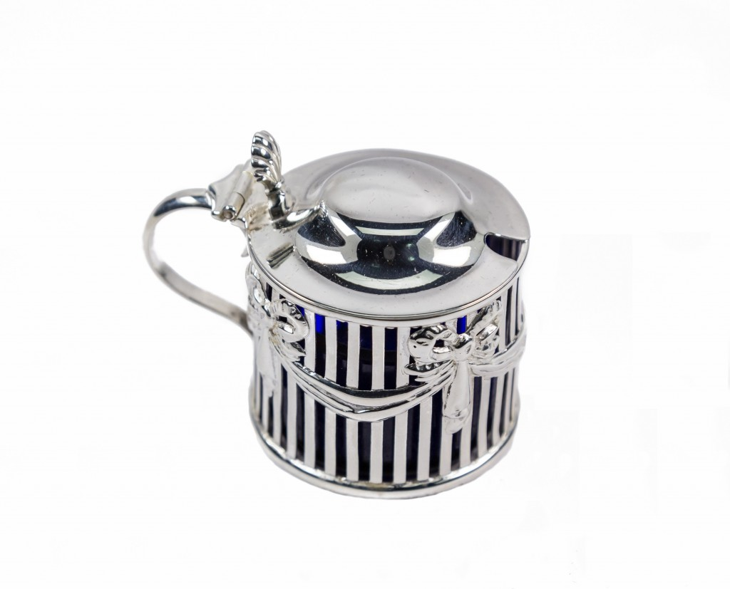 Silver lidded blue mustard pot with hinged top
