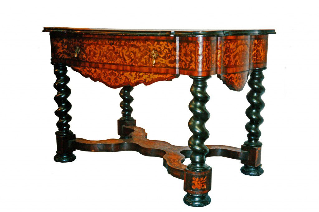 Library table with turned twist legs and x-frame stretcher