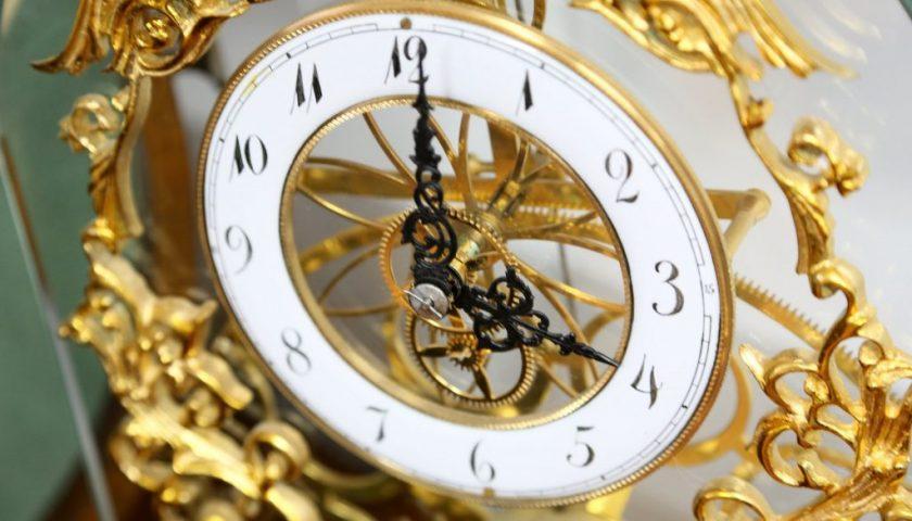 Gilt detail on skeleton clock