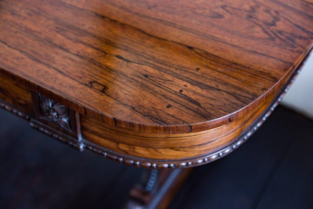 Regency rosewood side table showing corner detail