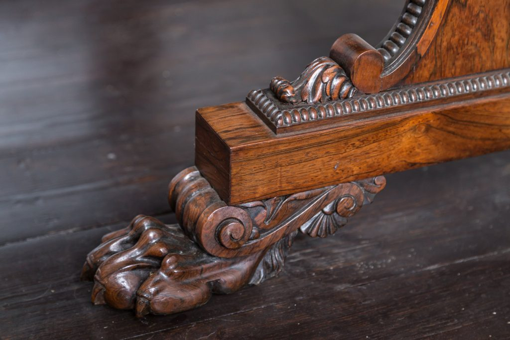 Rosewood carved detail to base and foot. Typical quality of the period (fine)