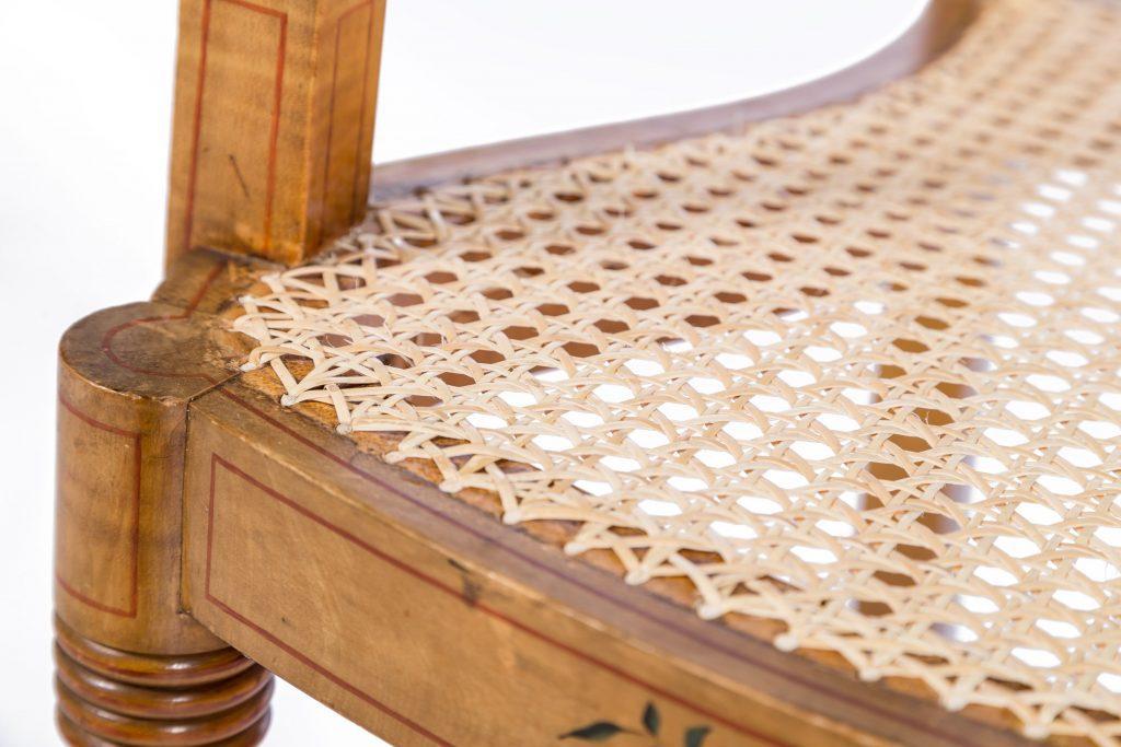 Cane detail showing corner of seat
