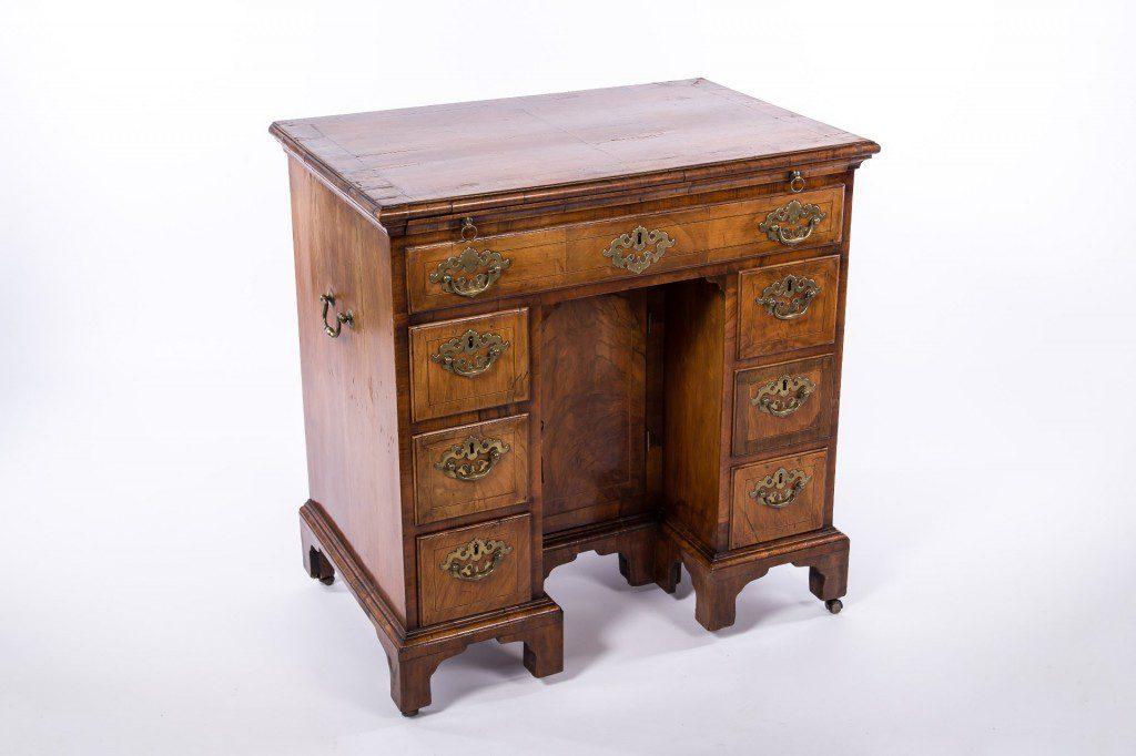 Side angle of knee-hole desk, English walnut